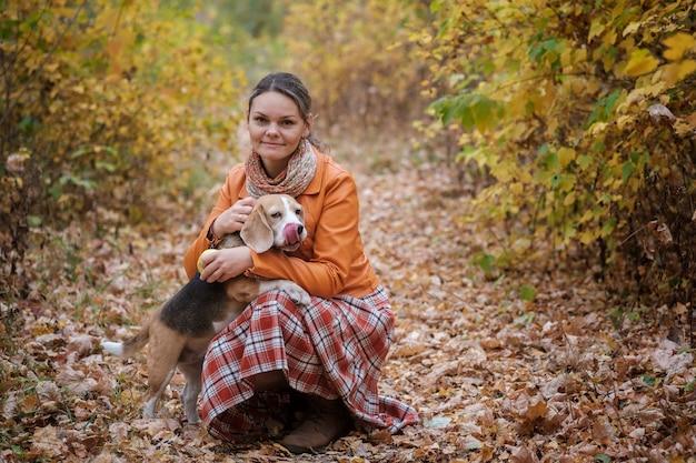 Pies rasy beagle chodzenie na smyczy w jesiennym parku z młodą kobietą