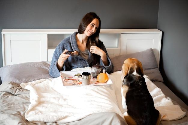 Pies rasy beagle obserwujący kobietę jedzącą ciasto śniadaniowe w sypialni domu