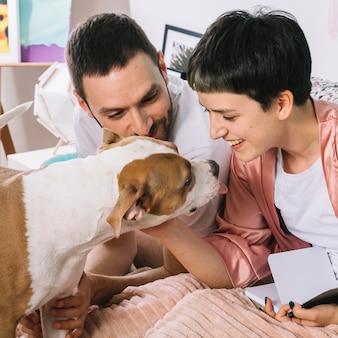 Pies z właścicielami w godzinach porannych