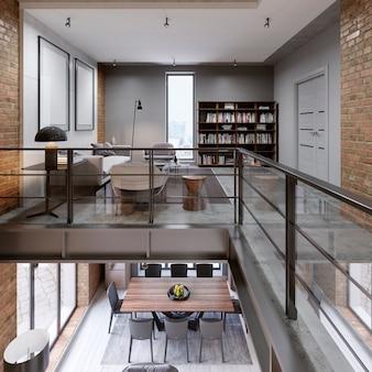 Piętrowe dwupoziomowe mieszkanie na poddaszu z kanapą, stołem jadalnym i biblioteką, otwarta przestrzeń, panorama. renderowanie 3d