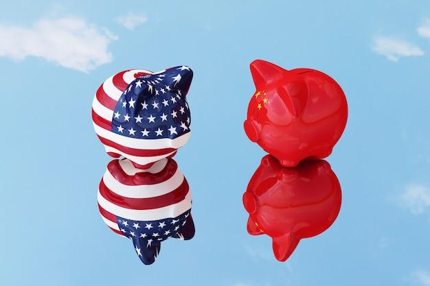 Piggy chińczyk i ameryka odkładają odbicie lustrzane z nieba.