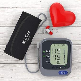 Pigułki i czerwone serce w pobliżu nowoczesny cyfrowy sprzęt do pomiaru ciśnienia krwi na drewnianym stole. renderowanie 3d