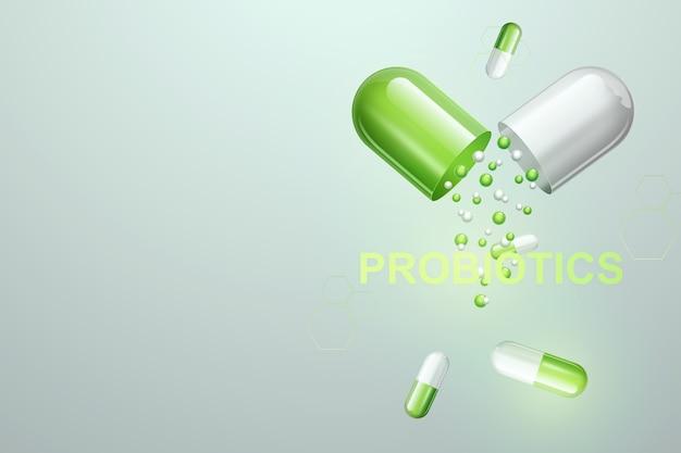 Pigułki i tabletki z napisem probiotyków