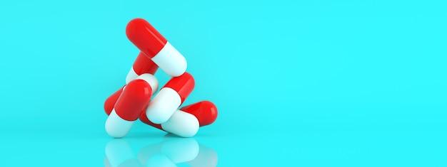 Pigułki kapsułek na niebieskim tle, koncepcja opieki zdrowotnej i farmacji, panoramiczny układ obrazu, renderowanie 3d