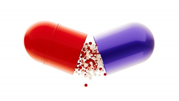 Pigułki kapsułki ikony ilustracja medyczny. 3d renderingu pigułka odizolowywająca na bielu. apteka otworzyła ikonę kapsułki. kapsułka medyczna z granulkami. lekarstwo na wirusa. spadające pigułki lub witaminy.