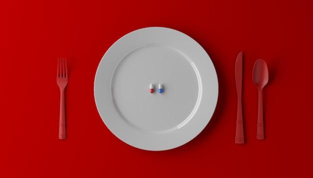 Pigułki podawane jako zdrowy posiłek. lek kapsuła na bielu talerzu na czerwonym tle. ilustracja 3d