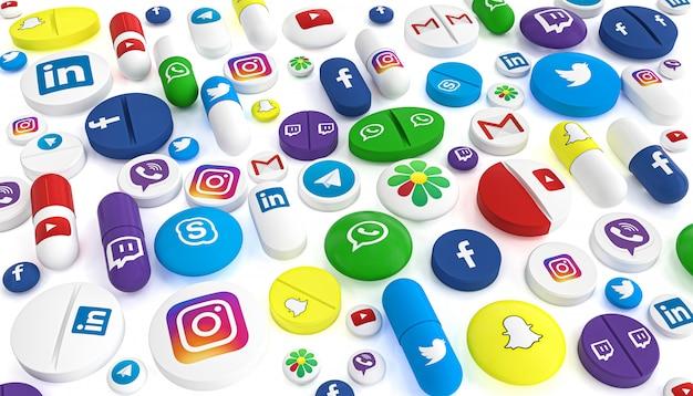 Pigułki różnych typów i rozmiarów opatrzone logo najbardziej znanych sieci społecznościowych.