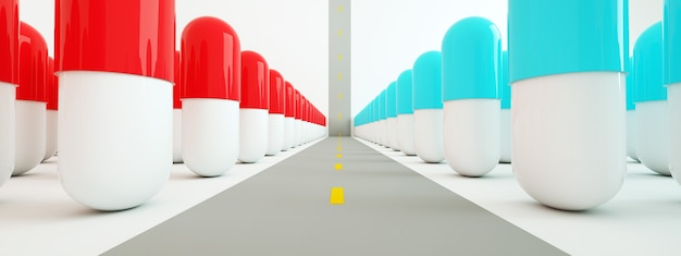 Pigułki są wzdłuż drogi, koncepcja ścieżki do leczenia, renderowanie 3d, obraz panoramiczny