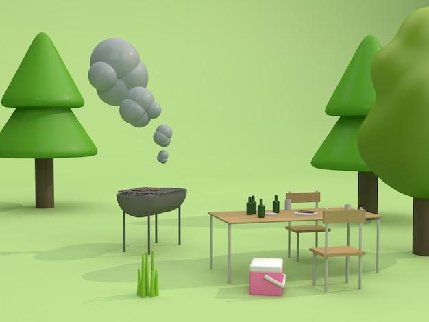Piknik grillowy w zielonych parkach letnim stylu cartoon renderowania 3d
