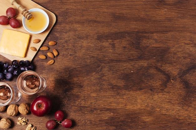Piknik widok z góry na drewniane tła z miejsca kopiowania