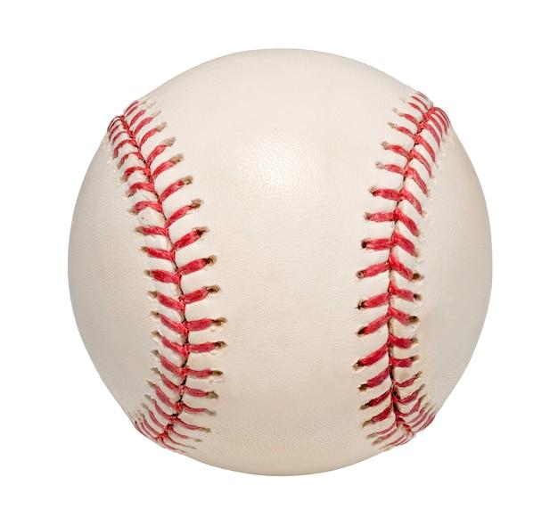 Piłka baseballowa na białym tle na białej przestrzeni.