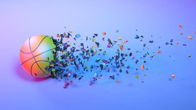 Piłka do koszykówki wpadająca na małe kawałki w oświetleniu neonowym, ilustracja 3d