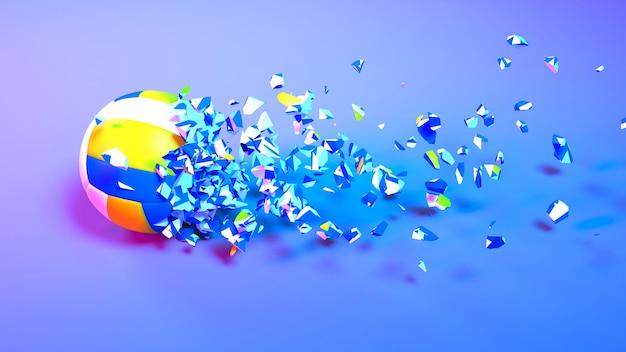 Piłka do siatkówki wpadająca na małe części w neonowym oświetleniu, ilustracja 3d
