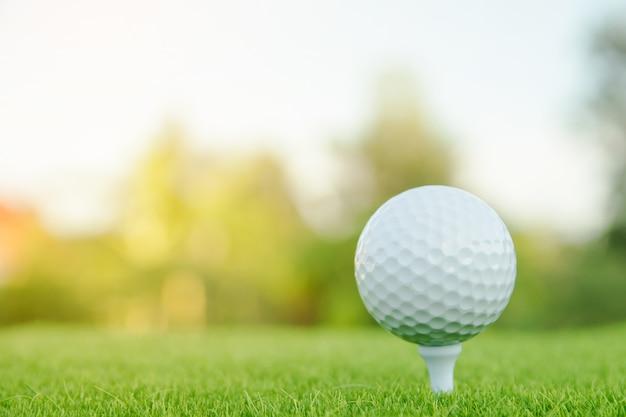 Piłka golfowa z białym trójnikiem na zielonej trawie przygotowywającej bawić się przy polem golfowym.