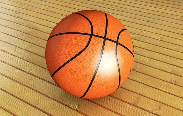 Piłka na boisku do koszykówki z reflektorem, ilustracja 3d