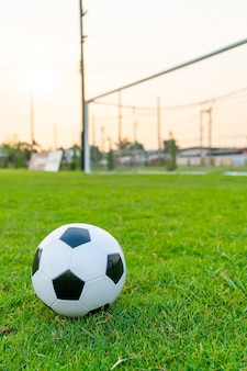 Piłka nożna na tle boiska do piłki nożnej z miejsca na kopię