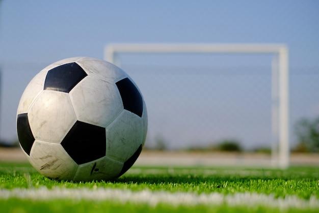 Piłka nożna na zielonej trawie i słupek bramki