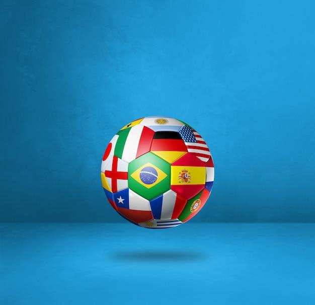 Piłka nożna piłka z flagi narodowe na białym tle na niebieskim tle studio. ilustracja 3d