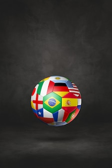 Piłka nożna piłka z flagi narodowe na białym tle na tle czarnym studio. ilustracja 3d