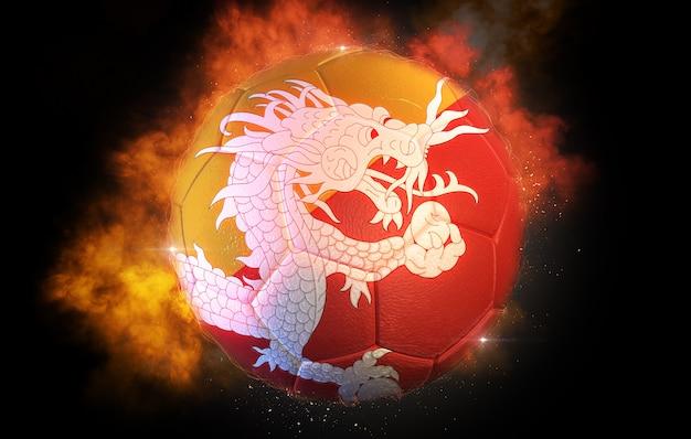 Piłka nożna teksturowana z flagą bhutanu