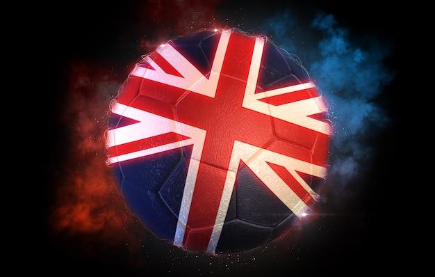 Piłka nożna teksturowana z flagą wielkiej brytanii