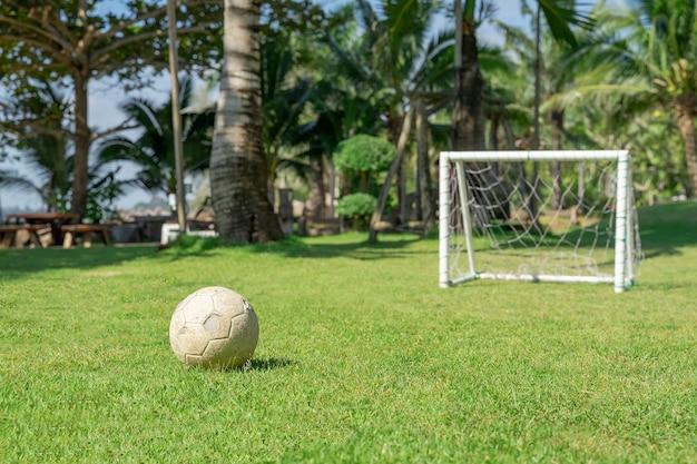 Piłka nożna w polu trawy przed słupkiem bramki. piłki nożnej na zielonej trawie placu zabaw.