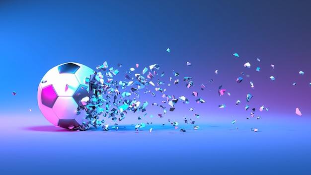 Piłka nożna wpadająca na małe kawałki w oświetleniu neonowym, ilustracja 3d