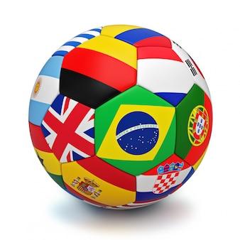 Piłka z flagami krajów świata na białym tle