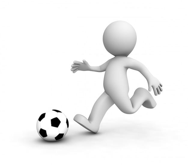 Piłkarze 3d biegną za piłką