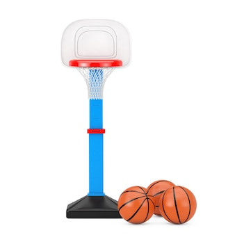 Piłki do koszykówki w pobliżu dzieci toy basketball ring z netto na białym tle. renderowanie 3d