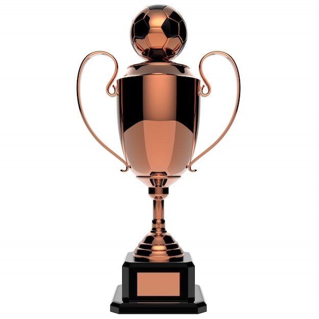 Piłki nożnej nagrody miedziany trofeum odizolowywający na bielu z ścinek ścieżką