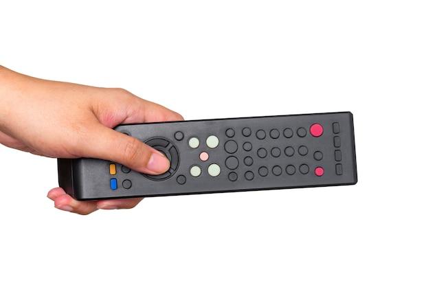 Pilot do telewizora trzymając się za ręce