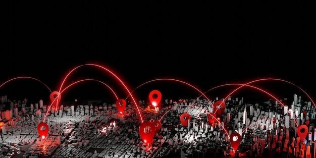 Pin na mapie nowego jorku usa ciemny ton świecący pin połączenie komunikacja i świadczenie usług
