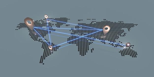Pin na mapie świata ciemne odcienie i świecące szpilki globalna komunikacja biznesowa ilustracja 3d