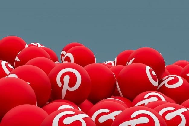 Pinterest logo emoji renderowania 3d
