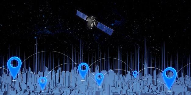 Piny gps i transmisja sygnału satelitarnego na niebie. duże miasto pełne wysokich budynków przypisywanie współrzędnych na mapie nawigacyjnej z ilustracjami 3d.