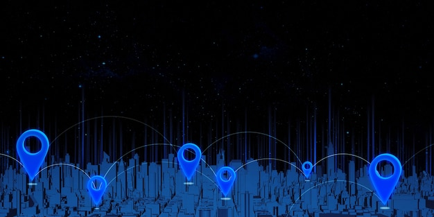 Piny gps i współrzędne transmisji satelitarnej na trójwymiarowej mapie nawigacyjnej