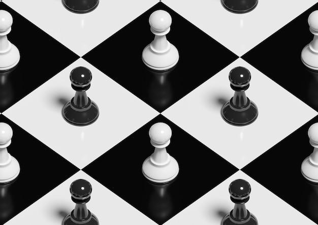 Pionki na szachownicy. izometryczny wzór.