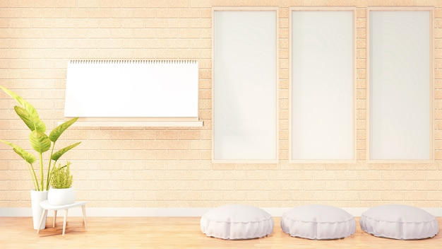 Pionowa ramka do grafiki, biała pufa na wnętrze pokoju na poddaszu, pomarańczowa ściana z cegły. renderowanie 3d