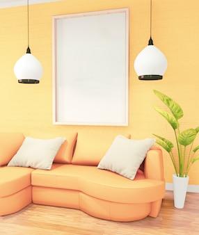 Pionowa ramka do grafiki, żółta sofa na wnętrze pokoju na poddaszu, projekt ściany z cegły. renderowanie 3d