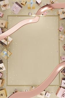 Pionowa ramka nowy rok i boże narodzenie w tle balony pudełko i wstążka ilustracja 3d