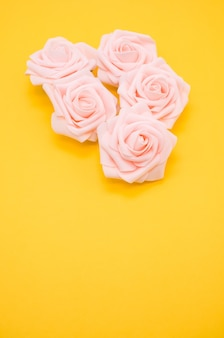 Pionowe strzał zbliżenie różowych róż na białym tle na żółtym tle z miejsca na kopię