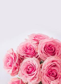 Pionowe tło kwiatowy. delikatna pocztówka, ramka z różowymi różami z bliska na białym tle. miejsce na tekst.