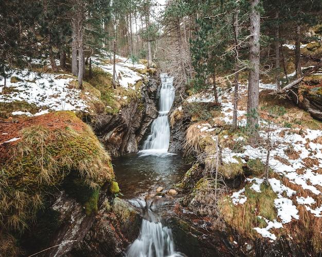 Pionowe ujęcie kaskad wodospadu w środku lasu w zimie