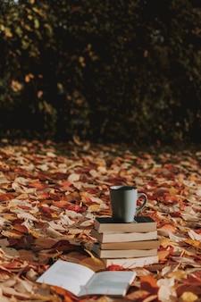 Pionowe ujęcie kilku książek i filiżanki kawy na ziemi pokrytej jesiennymi liśćmi