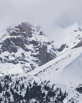Pionowe ujęcie ośnieżonych szczytów gór pod zachmurzonym niebem
