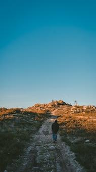 Pionowe ujęcie samotnej osoby w bluzie z kapturem idącej ścieżką