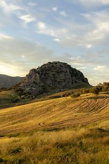 Pionowe ujęcie słonecznych wzgórz na wsi