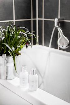 Pionowe ujęcie szamponów i wiadro z zielonymi roślinami w wannie
