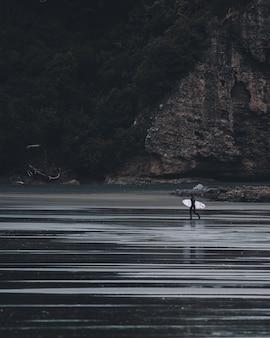 Pionowe ujęcie w skali szarości przedstawiające osobę wchodzącą do wody z biurkiem do surfowania